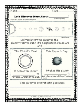 Planet Research Outline