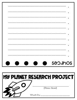 Planet Research Project Flip Book
