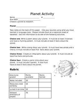 Planet Research Project Menu