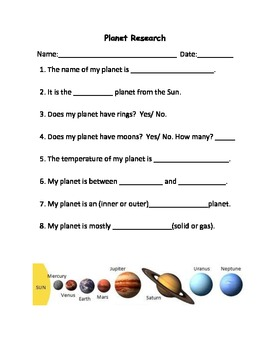 planets and their moons worksheets - photo #31