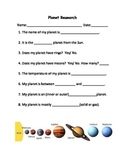Planet Research Project Worksheet
