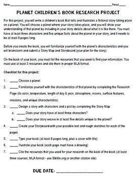 Planet Research Project: Write a Children's Book! Google Drive or Paper Version