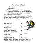 Planet Research Project and Rubric