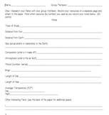 Planet Research Template