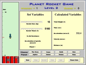 Physics - Newtons Second Law - Planet Rocket Game Software - PC Version