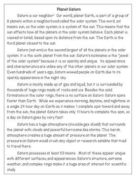 Planet Saturn Reading Comprehension Activity