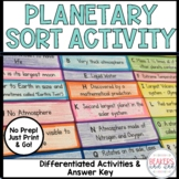 Inner and Outer Planets Card Sort Activity Printable Dista