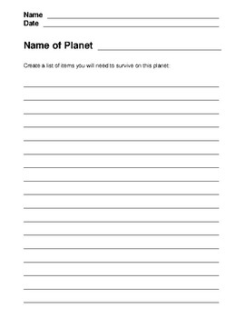 Planet Survival Lesson Plans