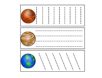 Planet Tracing/Cutting Cards for Preschool, Prek, and Kindergarten