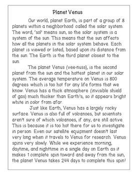 Planet Venus Reading Comprehension Activity