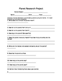 Planet Webquest Research Note Taking Worksheet Solar System Space