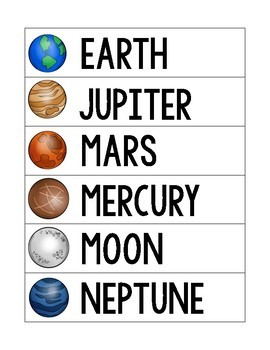 Planet Word Wall Words and Flashcards
