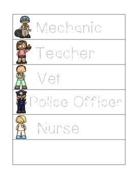 Community Helper Word Wall and Tracer Words - Preschool, Prek, Kindergarten