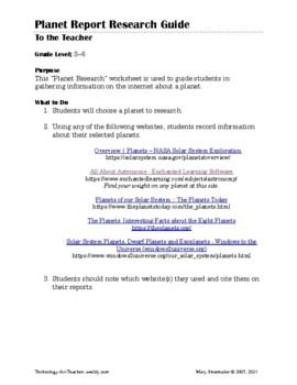 Planet Worksheet: Internet Research