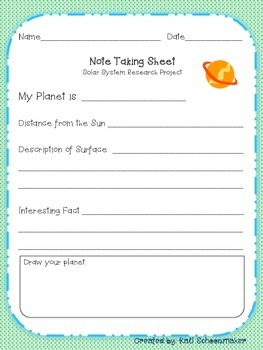 Planet Writing Research Project for Primary Grades (Solar System)