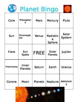 Planet and Astronomy Bingo