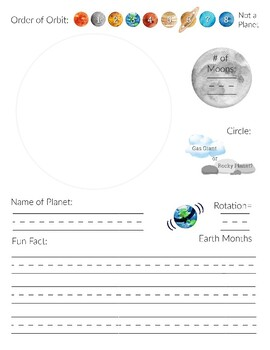 Planet (and/or Moon) Book for Solar System Unit