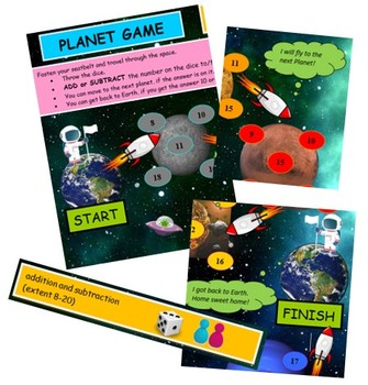 Planet game -addition and subtraction board game
