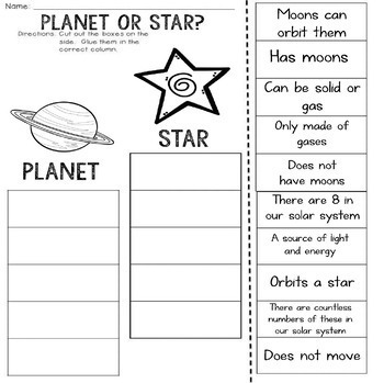 Planet or Star? Cut and Paste Sorting Activity