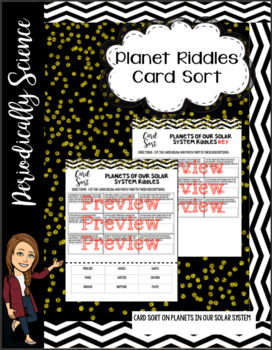 Planet riddles card sort