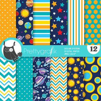 Planet space papers, commercial use, scrapbook papers - PS821