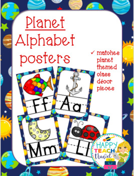 Planet themed alphabet posters and desk name plates