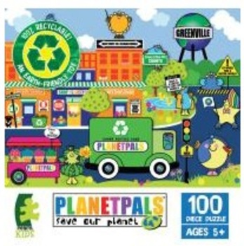 """PLANETPALS Green n Clean """"GREENVILLE"""" PUZZLE 100 Piece"""