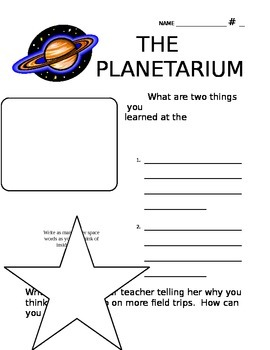 Planetarium Reflection & Writing Prompt