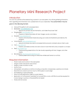 Planetary Mini Research Project