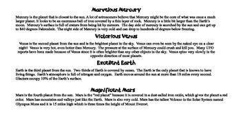 Planetary Poetry - Write haikus, limericks, & figurative language about planets
