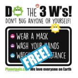 Planetpals COVID Coronavirus Don't Sign - Practice the 3 W