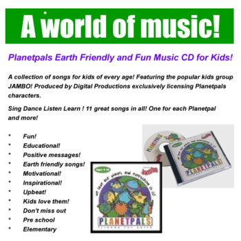 """Earthday Songs MUSIC CD Earth Theme """"Love the planet everyone everything on it"""""""