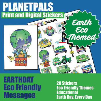 Kids Classroom Stickers Clip Art Set Eco Friendly Earth Theme / Earthday