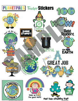 Teachers Stickers Clip Art Achievements Eco Friendly Earth Themes Puns DIGITAL