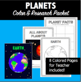 Planets- A Color and Write Research/Inquiry Packet #2