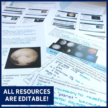Planets ALL-IN-ONE Lesson | PowerPoint, Notes, Digital Literacy Activity & More