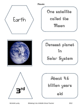 Planets Cards ~ Group Name, Picture, Order, & 3 Facts for Each Planet