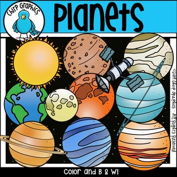 Planets Outer Space Clip Art Set - Chirp Graphics