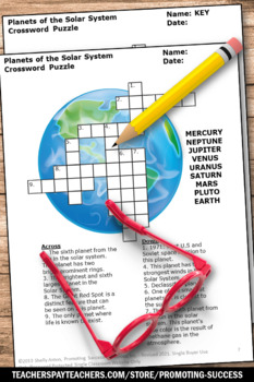 Solar System and Planets Worksheet, Science Crossword Puzzle