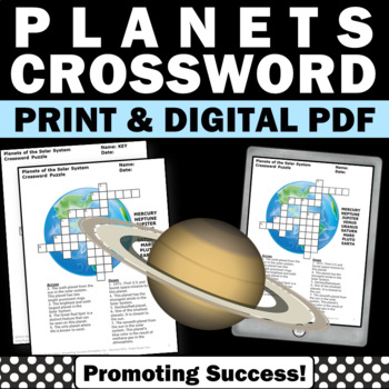 Solar System and Planets Unit Activities Supplement, Science Crossword Puzzle