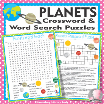Planets Solar System Activities Crossword Puzzle and Word Search Find