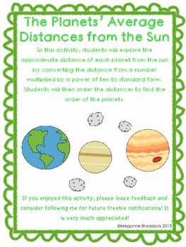 Planets' Distances from the Sun: Powers of Ten Activity