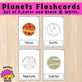 Planets Flashcards - Set of 8 - Color, Black & white