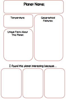 Planets Graphic Organizer