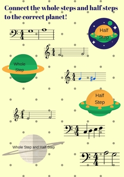 Planets Half Step and Whole Step Piano Theory Worksheet