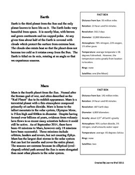 Planets Information Packet/ Jigsaw