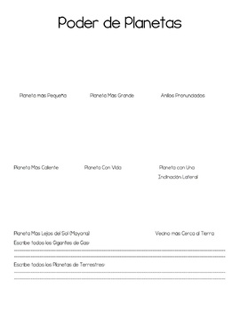 Planets Interactive Notebook (English, Spanish, ESOL, SPED)