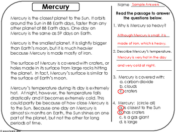 Planets Non Fiction Reading Comprehension Passages