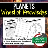 Planets Project Activity, Wheel of Knowledge Interactive Notebook