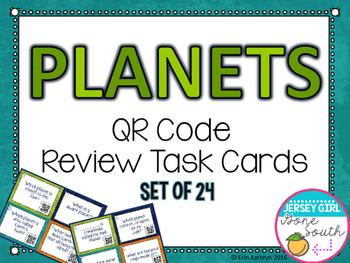 Planets QR Code Review Task Cards - Set of 24